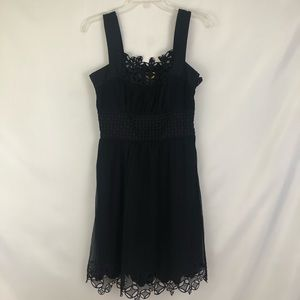 Catherine Malandrino Embroidered Black Dress Sz 4